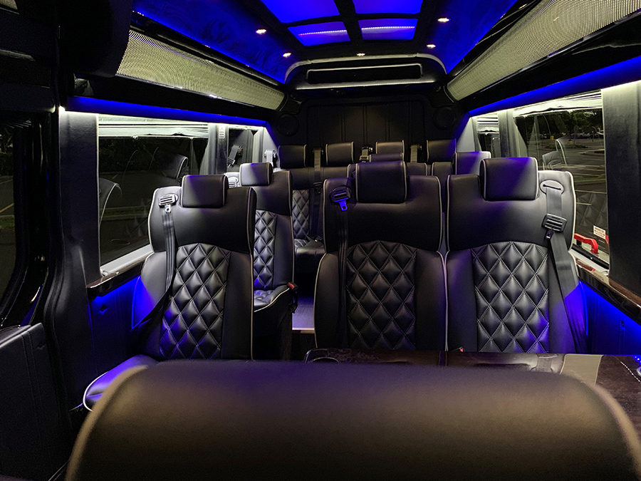Luxury Oahu Limousine Mercedes Sprinter Interior